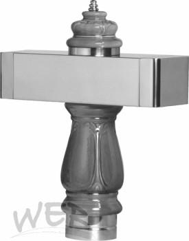 """Keramik """"Barock"""" mit Edelstahl-Balken 505mm, weiß, ungebohrt"""