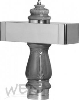 """Keramik """"Barock"""" mit Edelstahl-Balken 645mm, schwarz, ungebohrt"""