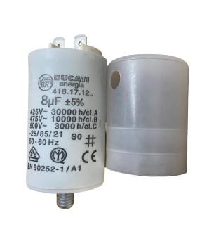 Kondensator 8 µF zu SISME Motor + Abdeckhaube + Verschraubung