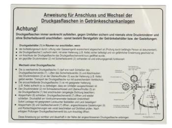 Aufkleber Anweisung f.Schankanlagen- Druckgasflaschen nach BGR228