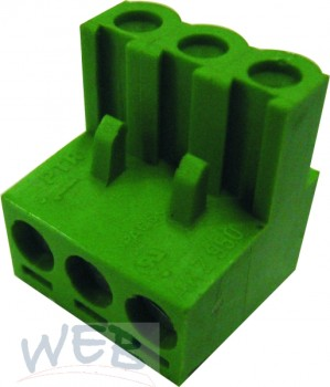 Printklemme m.Drahtschutz 3pol.19mm hoch gerade grün AKZ950/3
